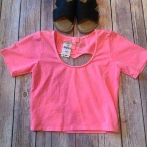 LF Emma & Sam Neon Pink Heart Cutout Crop Top sz S